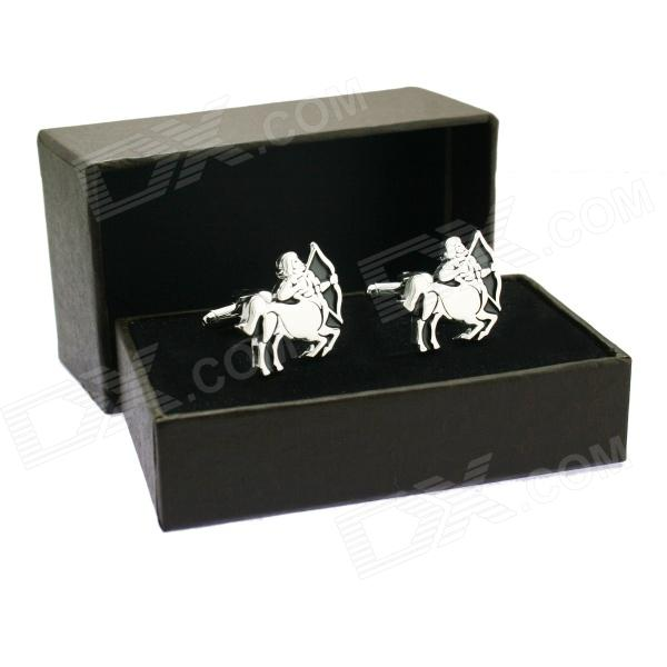 Sagittarius Brass Steel Stoving Varnish Cufflinks for Men - Black + Silvery (Pair)