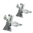 Virgo Brass Steel Stoving Varnish Cufflinks for Men - Black + Silvery (Pair)