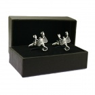 Scorpio Brass Steel Stoving Varnish Cufflinks for Men - Black + Silvery (Pair)