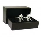Aquarius Brass Steel Stoving Varnish Cufflinks for Men-  Black + Silvery (Pair)