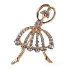 Gold-plating Rhinestone Ballet Dancer Brooch
