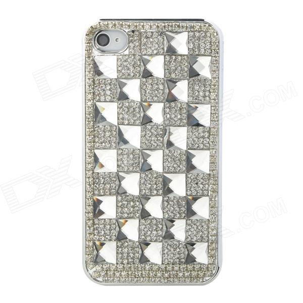 Checked Style Protective Rhinestone + Plastic Back Case for Iphone 4 - Silver protective heart shape rhinestone decoration back case for iphone 5 brown