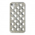 Checked Style Protective Rhinestone + Plastic Back Case for Iphone 4 - Silver
