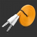 Flat 3.5mm Male to Male Audio Connection Cable - Orange + White(100cm)