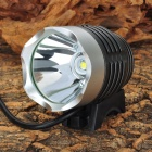 600lm 4-Mode Cool White Crown Head Bike Light Headlamp w/ Cree XM-L T6 - Silver + Black (4 x 18650)