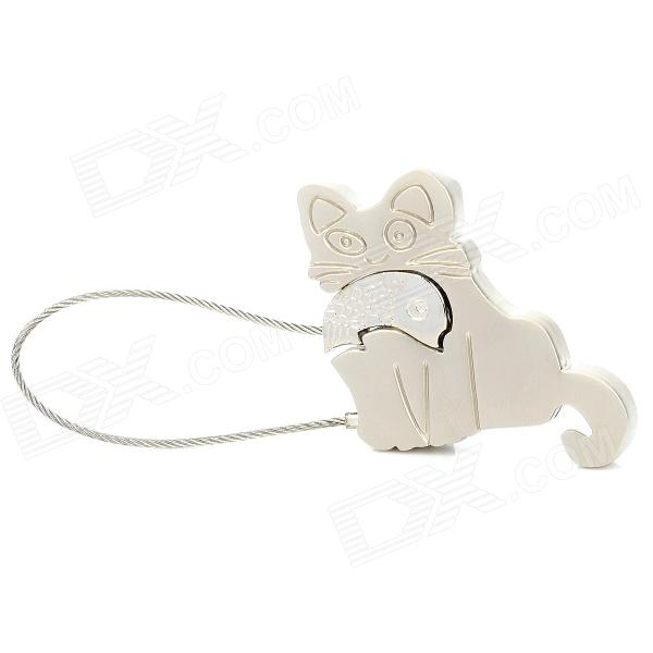 1098 Novelty Fashionable Cat-eating-fish Style Zinc Alloy Key Ring - Silver fashion birds style double refers zinc alloy open ring silver