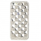 Checked Style Protective Rhinestone + Plastic Back Case for Iphone 5 - Silver