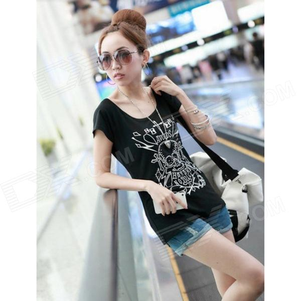 Skull Pattern Cotton Short Sleeve T-Shirt for Women - Black (Size XL)