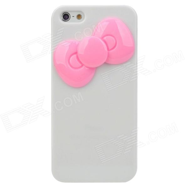 Cute Bowknot Style Protective Plastic Back Case for Iphone 5 - White + Pink cute girl pattern protective rhinestone decoration back case for iphone 5 light pink light blue