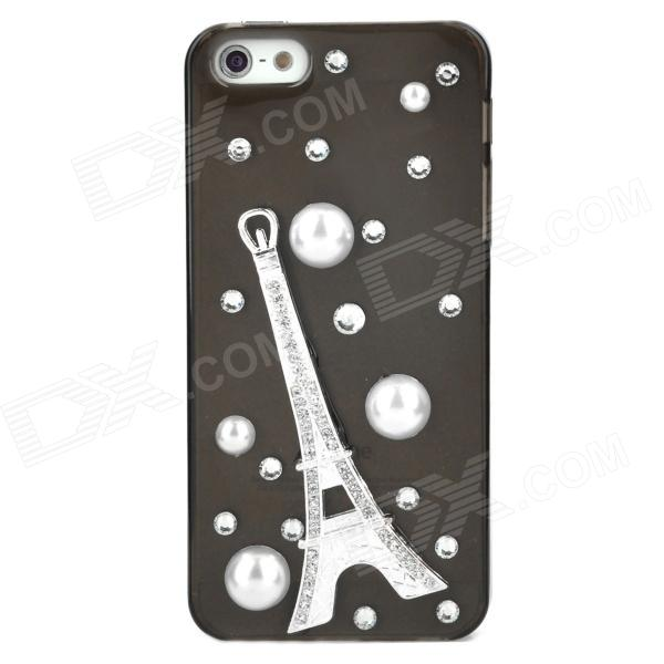 Rhinestone Metal Eiffel Tower Style Protective  Plastic Case - Translucent Black - DXPlastic Cases<br>Brand N/A Quantity 1 Piece Color Translucent black + silver + black Material Plastic Type Cases with Jewel Compatible Models Iphone 5 Other Features Allows full access to all ports and buttons; Protect your cell phone from scratches dust and shock Packing List 1 x Case<br>