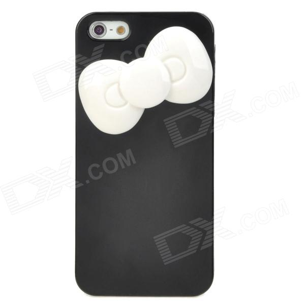 все цены на Bowknot Style Protective Plastic Case for Iphone 5 - Black + White онлайн