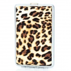 Sexy Leopard Pattern PU Leather + Stainless Steel Cigarette Case - Black + Brown + Silver