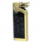 Cool Crocodile Head Switch PU Cover Blue Flame Windproof Butane Jet Torch Lighter - Black + Bronze
