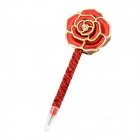 Rose Shaped Black Gel Ink Ball Point Pen - Red + Golden