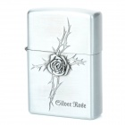 6164 Stylish Rose Pattern Relievo Stainless Steel Kerosene Oil Lighter - Silver