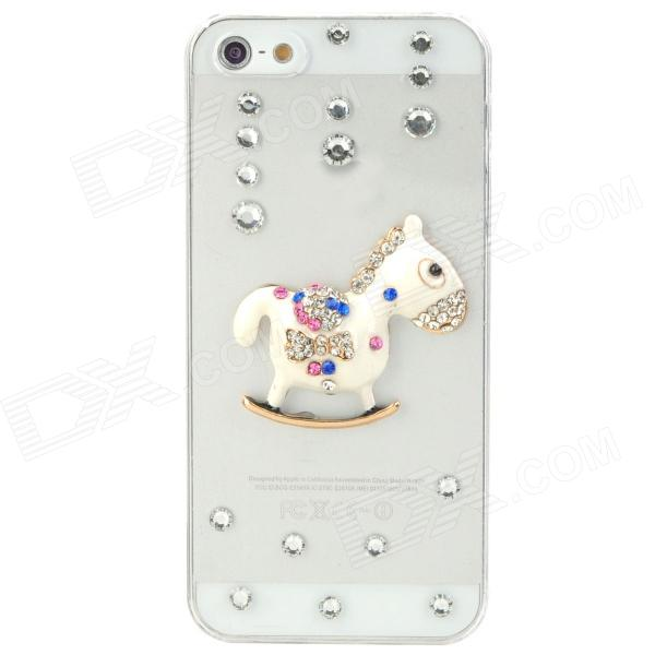 Cartoon Horse Style Rhineston + Plastic Back Case for Iphone 5 - Transparent + White protective alloy horse decoration rhinestone studded back case for iphone 5 white transparent