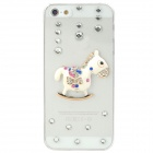 Cartoon Horse Style Rhineston + Plastic Back Case for Iphone 5 - Transparent + White