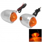10W Yellow Light Retro Universal Motorcycle Steering Light Lamp - Silver + Orange (12V / 2 PCS)