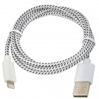 USB to 8-Pin Lightning Sync Data/Charging Woven Cable for iPhone 5 / iPad Mini - White + Black (1M)
