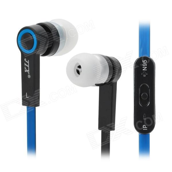 JTX JL-760 Universal In-Ear Earphones w/ Microphone for Smartphone - Black + Blue (3.5mm Plug) maibosi ma 39 fashion universal in ear earphones w microphone black red 3 5mm plug 124cm