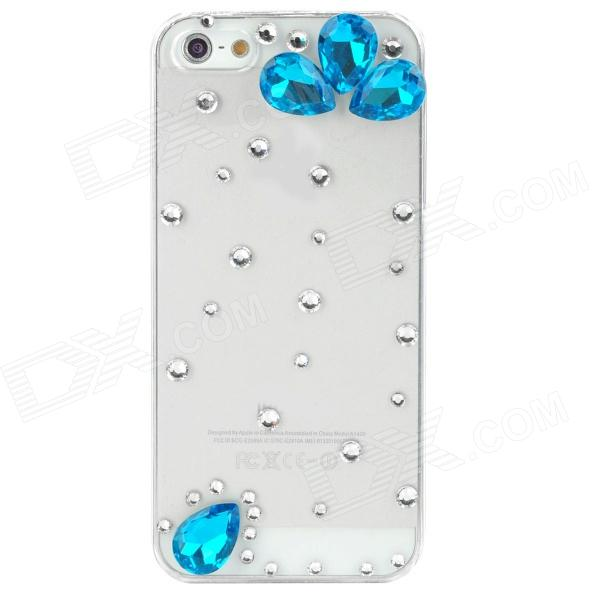 Crystal + Plastic Protective Back Case for Iphone 5 - Transparent + Blue protective plastic rain drop case for iphone 5 transparent blue transparent
