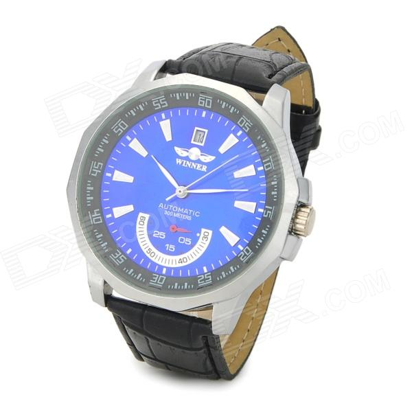 Fashion PU Band Analog Mechanical Wriswatch w/ Calendar - Black + Blue