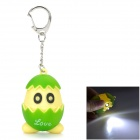 Creative Cute Pip Superman Style LED Keychain w/ White Flashlight / Chick Sound - Green + Yellow
