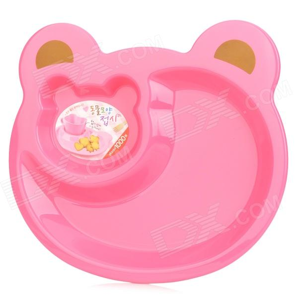 Cute Bear Head Style Baby Dinner Plate Tray - Pink