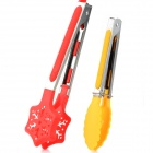 "High Temperature Resistant 9"" + 7"" Bread Tongs Kit - Red + Yellow + Silver"