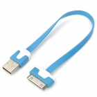 USB to 30-Pin Data/Charging Flat Cable for iPhone 4 / 4S - Blue + White (22.5CM)