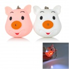 Mini Cartoon Pig Style White Light Keychain for Lovers - Pink + White (2 PCS)
