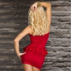 LC2824-3 Sexy Rivets-embellished Bustline Peplum Dress - Red   (Size-L)