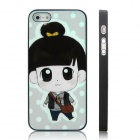 ENKAY Girl Student Pattern Protective Plastic Case for Iphone 5 - Black + Multicolor