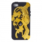 3D Skull Style Protective Silicone Back Case for Iphone 5 - Golden + Black