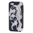 3D Skull Style Protective Silicone Back Case for Iphone 5 - Silver + Black