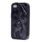 3D Skull Style Protective Silicone Back Case for iPhone 4 / 4S - Black
