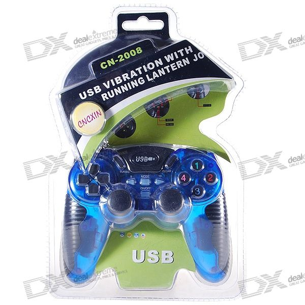 USB 16-Button Force Feedback Vibrating Gamepad Controller for PC