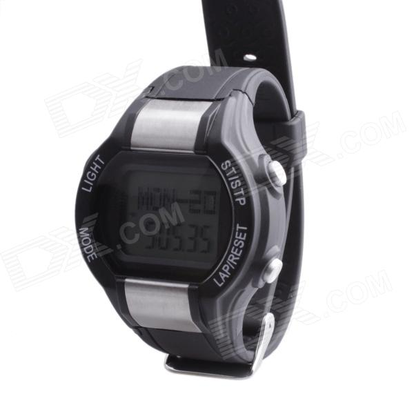 SB-026 Stylish Multifunctional Pedometer Heart Rate Calories Counter Sports Watch - Silver + Black