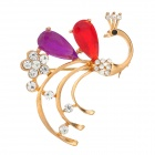 Crystal Gold-plated Peacock Brooch Breast Pin - Golden + Red + Purple