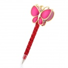 G-59 Butterfly Shaped Black Gel Ink Ball Point Pen - Red + Golden