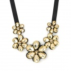 Acrylic Camellia Flower Necklace Collar - Black + Champagne