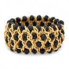 Retro Multilayer Black Crystal Breites Armband - Schwarz + Golden