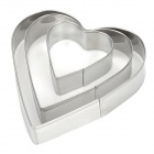Heart Shaped Food Cake / Bread / Biscuit Molds - Silver (3 PCS)