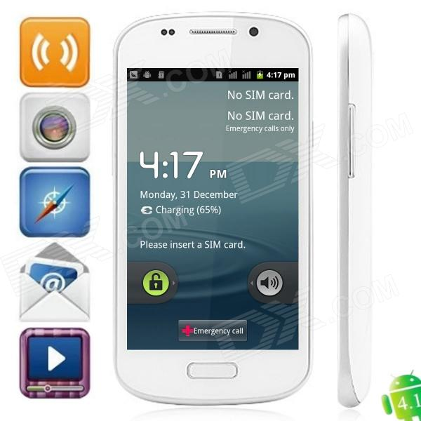 "S9 Android 4.1.1 GSM Bar Phone w/ 4.0"" Capacitive Screen, Quad-Band and Wi-Fi - White"