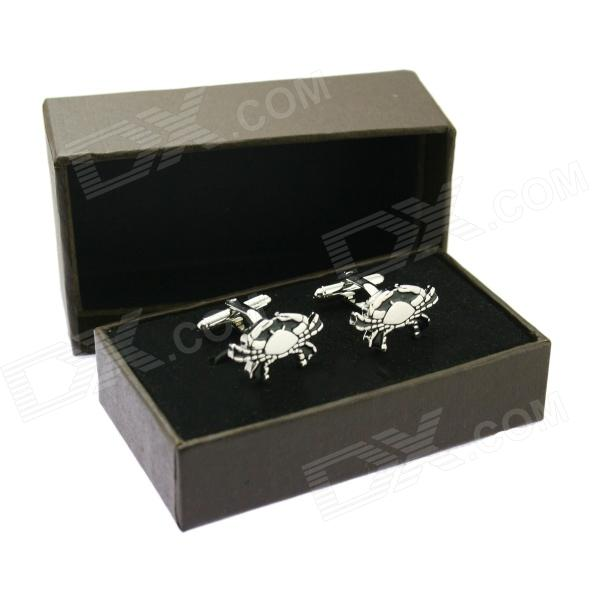 Cancer Brass Steel Stoving Varnish Cufflinks for Men- Black + Silvery (Pair)