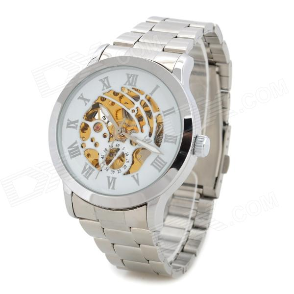 Fashion Stainless Steel Skeleton Automatic Mechanical Wrist Watch for Men - Silver + White silver gold automatic mechanical watch men top luxury brand stainless steel skeleton luminous male clock 2018 relogios masculino