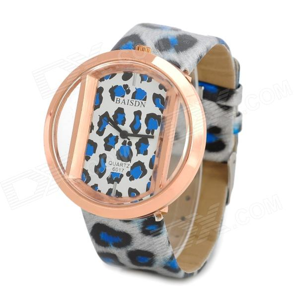 Fashion Leopard Print PU Band Analog Quartz Wrist Watch for Women - Blue + White + Golden womage chic pencil shaped hour hands style quartz wrist watch with white dial for women hot pink