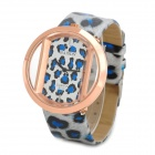 Fashion Leopard Print PU Band Analog Quartz Wrist Watch for Women - Blue + White + Golden