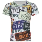 XINGLONG Men's Car Licence Plates Clippings Short Sleeve T Shirt - Multi-Colored (Size XXL)