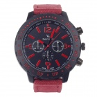 SuperSpeed V0100 Fashionable Men's Stainless Steel Linen Quartz Analog Wrist Watch - Red + Black
